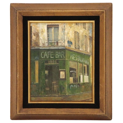 Street Scene Oil Painting of Cafe after Tak Hak Chiu