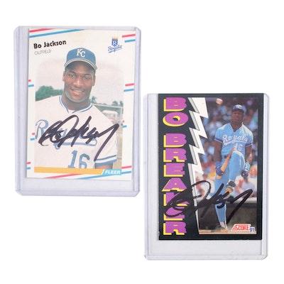 Bo Jackson of the Kansas City Royals, Autographed Baseball Cards