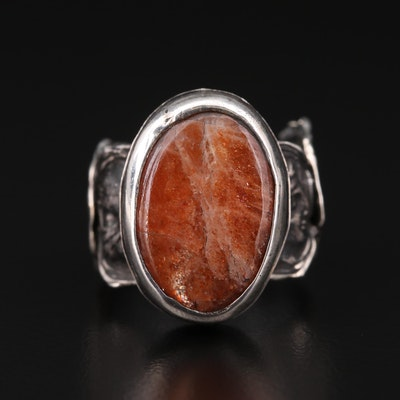 Sterling Agate Ring with Ancient Greek Coin Replicas Shank