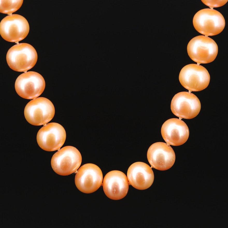 14K Gold Orange Pearl Necklace