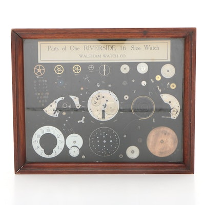 Waltham Watch Co. Riverside 16 Pocket Watch Parts in Display Case