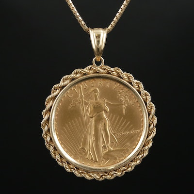 14K Yellow Gold Necklace with 1986 $25 Gold Eagle 1/2 Oz. Bullion Coin