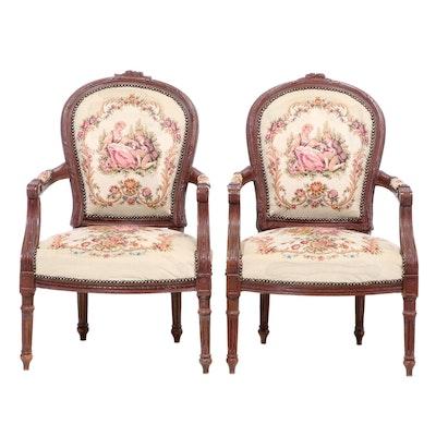 Pair of Louis XVI Style Beech Fauteuils