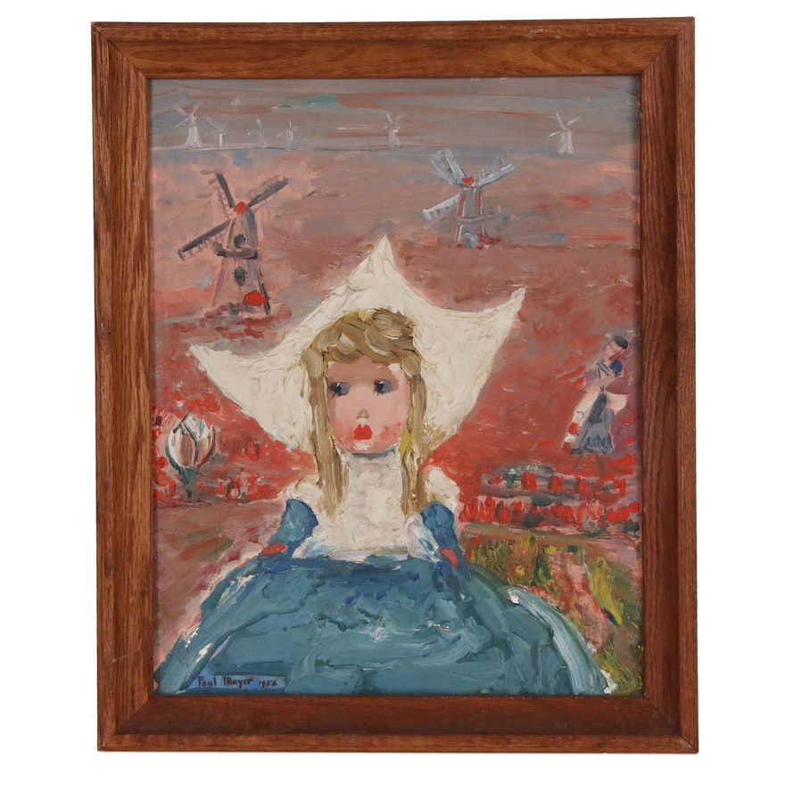 Paul Mayer Folk Portrait Oil Painting of Dutch Girl, 1956