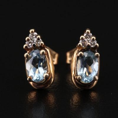 14K Yellow Gold Aquamarine and Diamond Stud Earrings