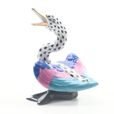 "Herend Black Fishnet with Gold ""Wild Duck"" Porcelain Figurine, November 1993"