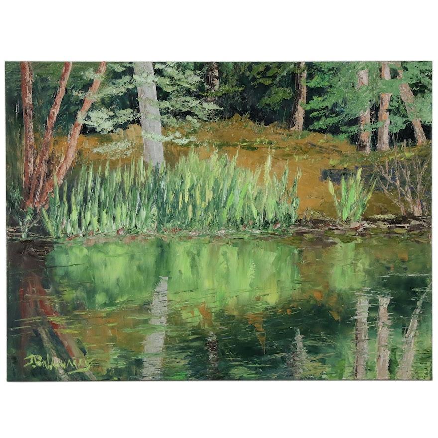 "James Baldoumas Landscape Oil Painting ""Pond & Reeds"""