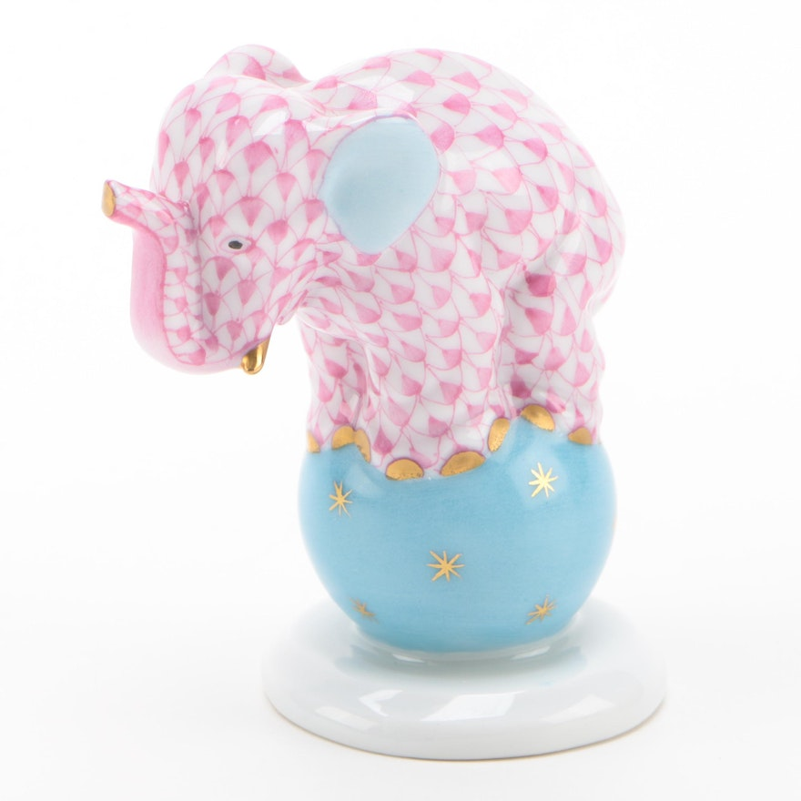 """Herend Raspberry Fishnet with Gold """"Elephant on Ball"""" Porcelain Figurine, 1996"""