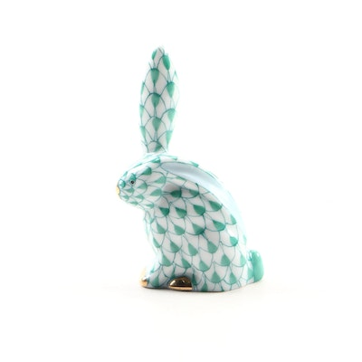"Herend Green Fishnet ""Miniature Rabbit with One Ear Up"" Figurine, April 1999"