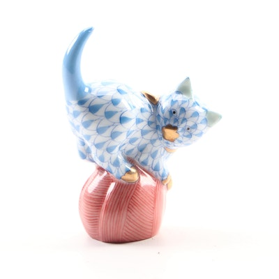 "Herend Blue Fishnet with Gold ""Mischievous Cat"" Porcelain Figurine, July 1997"