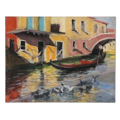 "Nino Pippa Oil Painting ""Venice, Seagulls Feasting by Rialto Fish Market"", 2018"