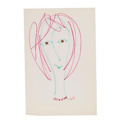 Franklin Folger Cartoon Portrait Ink Drawing