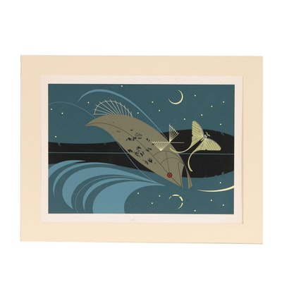 "Charley Harper Serigraph ""Brief Bio (Luna Moth),"" Circa 1968"