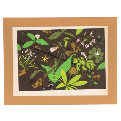 "Charley Harper Serigraph ""Early Risers (Spring Wildflowers),"" Circa 1968"