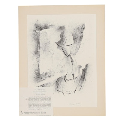 "Michael Biddle Lithograph ""Fascination"", Mid 20th Century"