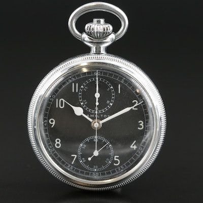 Hamilton AN -5742 WW II U.S. Military Chronograph Pocket Watch, Vintage 1942