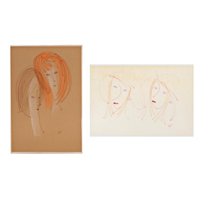 Franklin Folger Mixed Media Drawings of Female Figures, Late 20th Century
