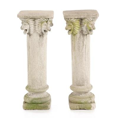 Pair of Leonine Columnar Concrete Garden Pedestals
