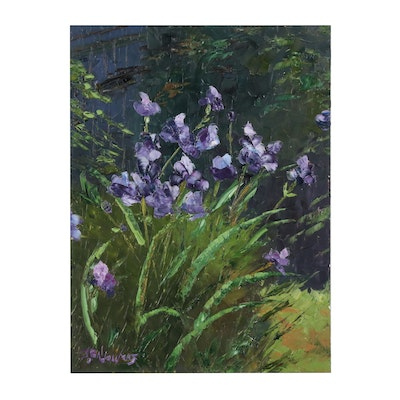 "James Baldoumas Oil Painting ""Purple Irises"""