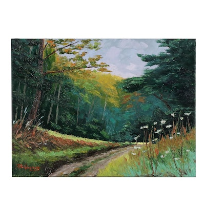 "James Baldoumas Oil Painting ""In the Woods"""