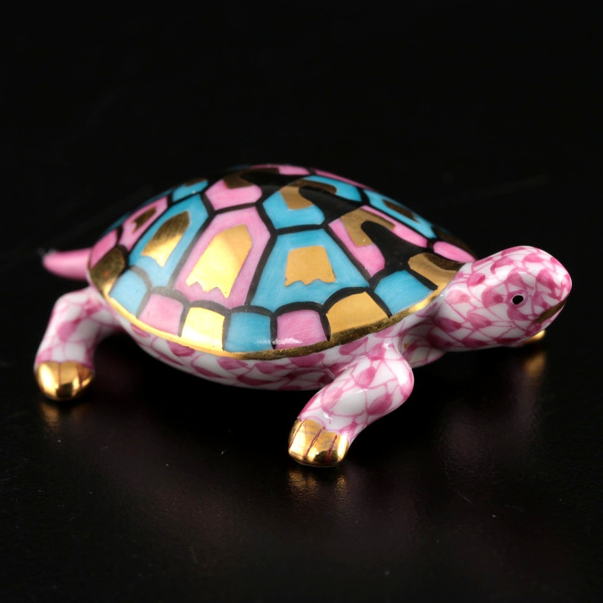 """Herend Pink Fishnet with Gold """"Baby Turtle"""" Porcelain Figurine, October 1998"""