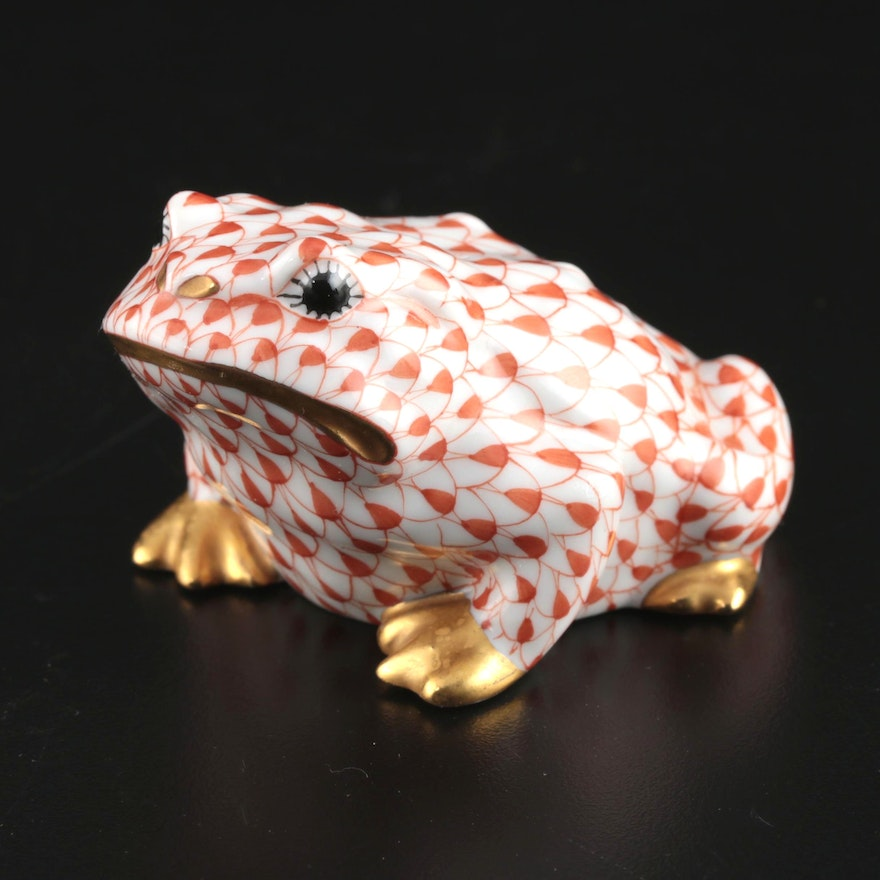 """Herend Rust Fishnet with Gold """"Frog"""" Porcelain Figurine"""
