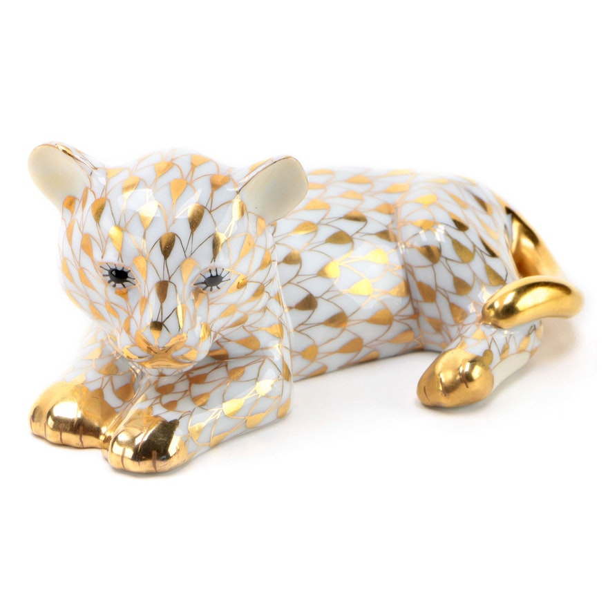 "Herend Guild Gold Fishnet ""Baby Sumatra Tiger"" Porcelain Figurine, 2003"