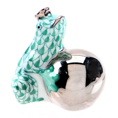 "Herend First Edition Green Fishnet ""Frog Prince"" Porcelain Figurine, April 1997"