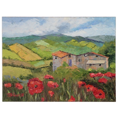 """James Baldoumas Oil Painting """"Cottage and Poppies"""""""