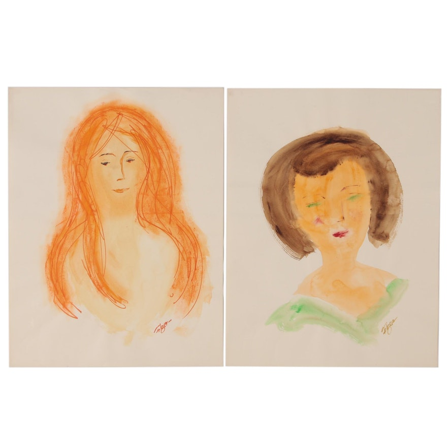 Franklin Folger Ink and Watercolor Female Portraits, Mid-20th Century