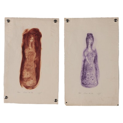 "Franklin Folger Intaglio Prints ""Study for Vase"", 20th Century"