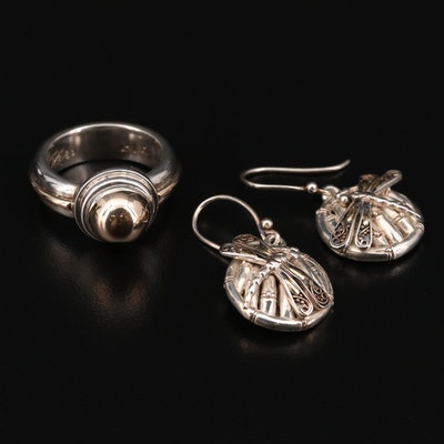 Sterling Rêve Ring and Phillip Gavriel Earrings with 14K and 18K Accents
