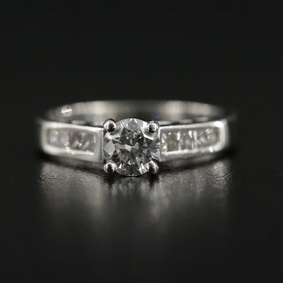 Platinum Diamond Ring with Channel Shoulders