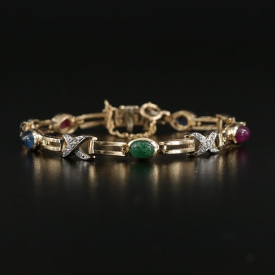 14K Yellow Gold Diamond, Sapphire, Ruby and Emerald Bracelet
