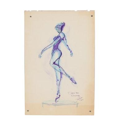 """Franklin Folger Ink Drawing """"Sketch for Sculpture"""", 1970"""