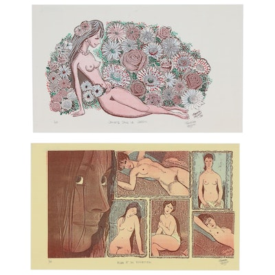 Franklin Folger Nude Figure Relief Prints, Late 20th Century