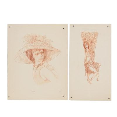 """Franklin Folger Intaglio Prints """"Nanette"""" and """"Coquette"""""""
