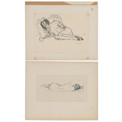 Benjamin Miller Nude Figure Study Drawings
