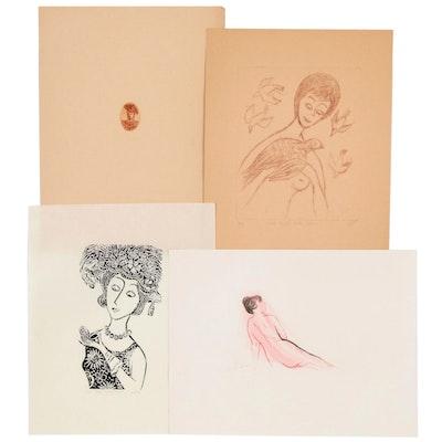 Franklin Folger Intaglio Prints of Women