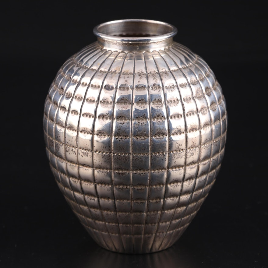 American Hand-Chased Sterling Silver Bud Vase, 20th Century