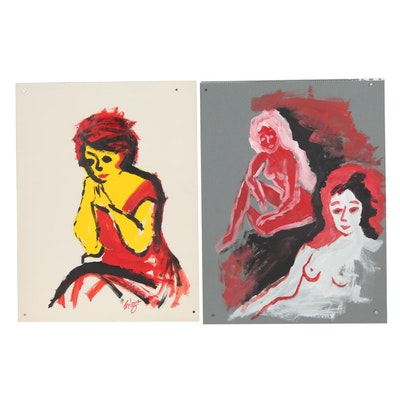 Franklin Folger Nude Figural Acrylic Paintings