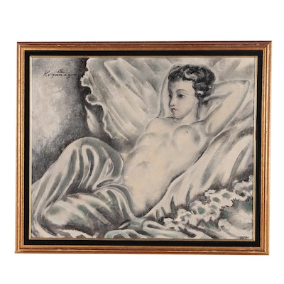 Sei Koyanagui Figure Oil Painting, Mid-20th Century