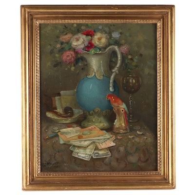 "Charles A. Meurer Oil Painting ""Still Life with Vase, Pipe and Parrot"""