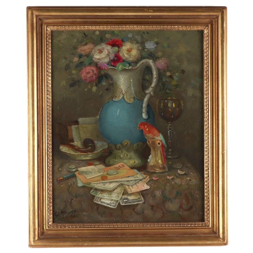 """Charles A. Meurer Oil Painting """"Still Life with Vase, Pipe and Parrot"""""""