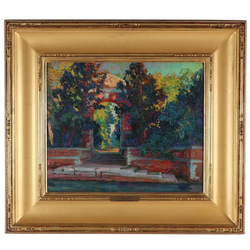"William S. Horton Oil Painting ""A Garden in Venice"""