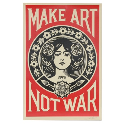 "Shepard Fairey Offset Poster ""Make Art Not War"", 2020"