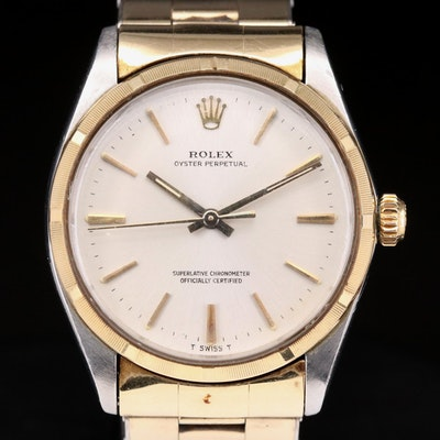Vintage Rolex Oyster Perpetual 18K Gold and Stainless Steel Automatic Wristwatch