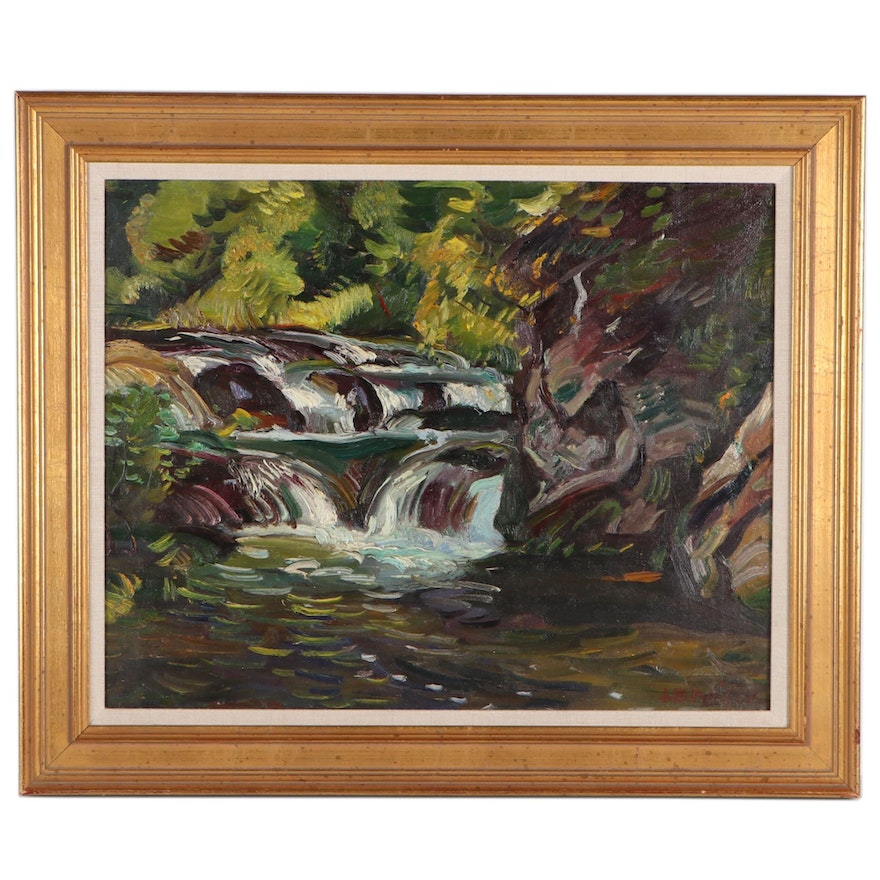 John Ellsworth Weis Landscape Oil Painting of Forest Stream
