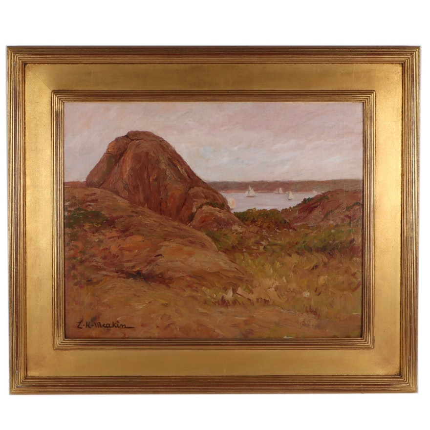"""Lewis Henry Meakin Landscape Oil Painting """"View of Sailboats and Coast"""""""