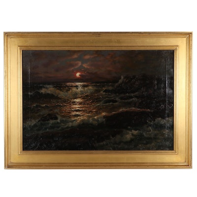 Richard Dey De Ribcowsky Nocturnal Seascape Oil Painting